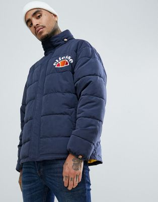 ellesse Esperia padded jacket with contrast lining in navy