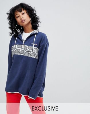 Ellesse Funnel Neck Half Zip Sweatshirt With Paisley Panel In Fleece