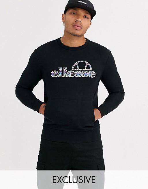 ellesse joel - sort sweatshirt med logo og dyre print - kun hos ASOS