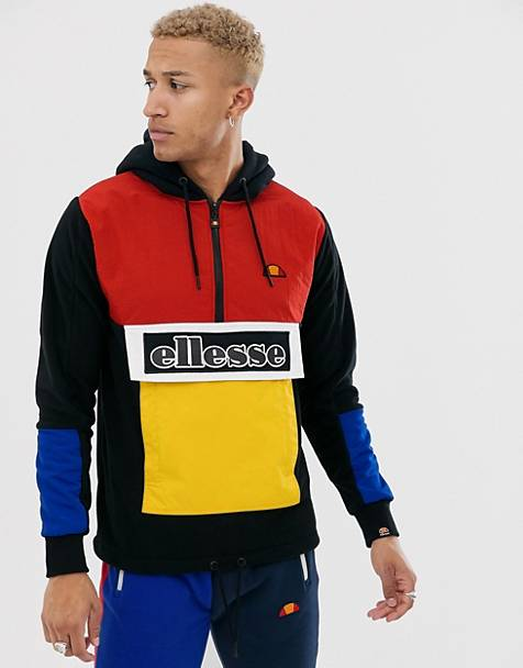 ellesse - Legno - Hoodie color block à demi-patte zippée et empiècements - Noir