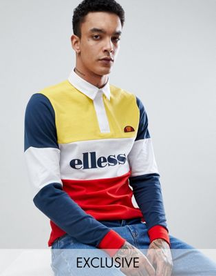 ellesse long sleeve polo shirt with block panels in yellow