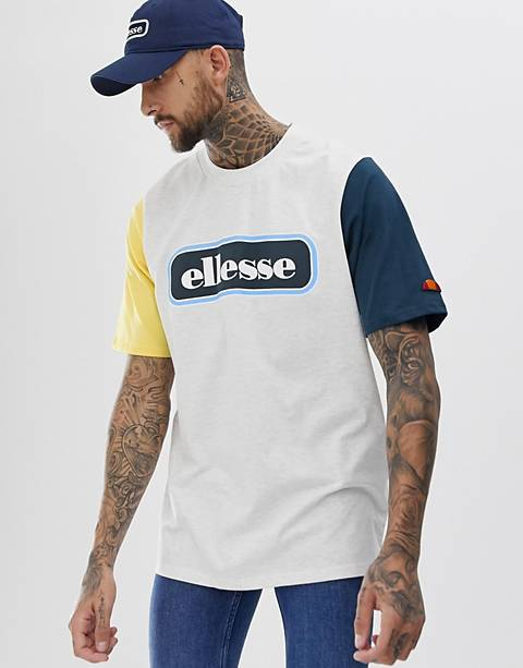 ellesse Mirro oversized contrast t-shirt with block logo in light grey marl