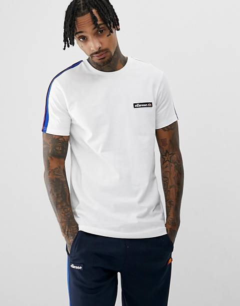 ellesse Pianto t-shirt with sleeve stripe in white