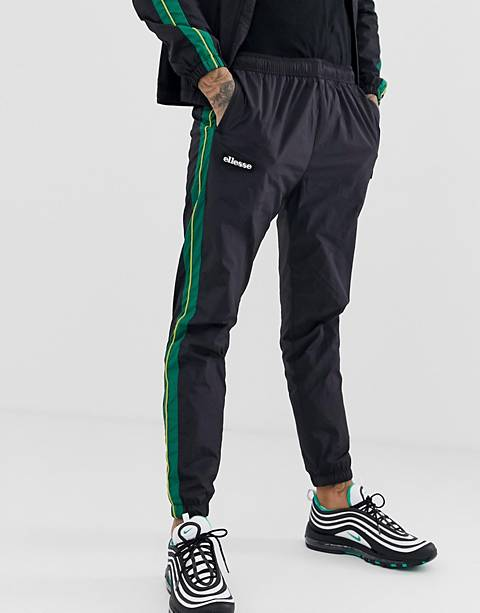 ellesse Picerio co-ord track joggers with side stripe in black