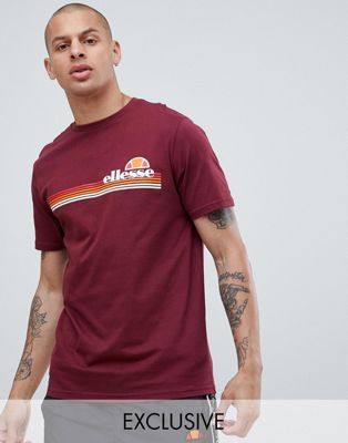 Image 1 of ellesse Rinaldo Crew Neck T-Shirt In Burgundy