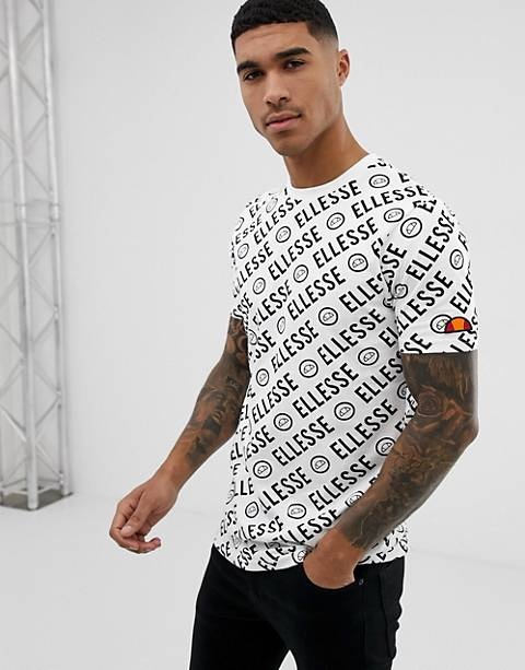 ellesse Rodi t-shirt with all over logo print in white