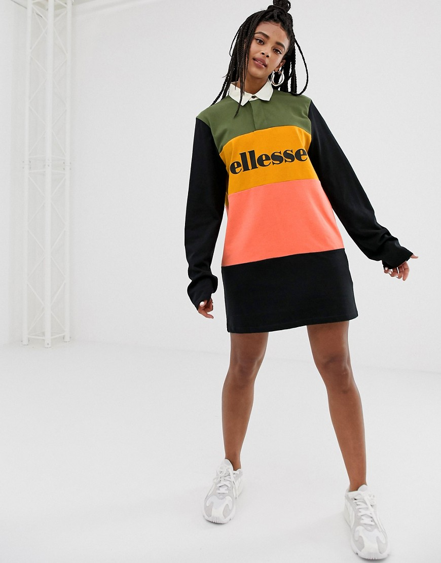 Ellesse Rugby T Shirt Dress In Color Block by Ellesse
