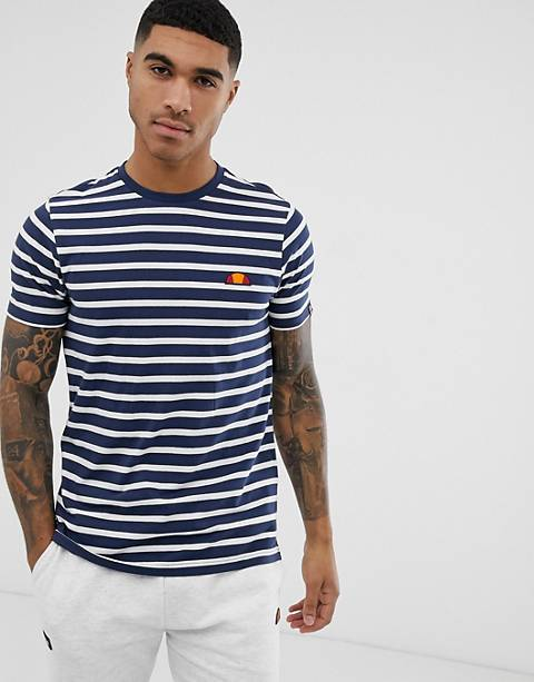 ellesse Sailo striped t-shirt with logo in navy