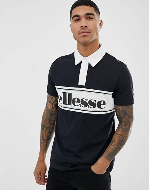 ellesse Sestolia polo with large panel logo in black