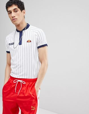 ellesse striped polo in white