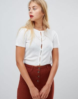 Emory Park button front crop top in fine knit