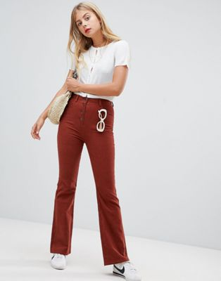 Emory Park button front flare trousers in cord