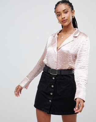 Emory Park cropped blouse in satin