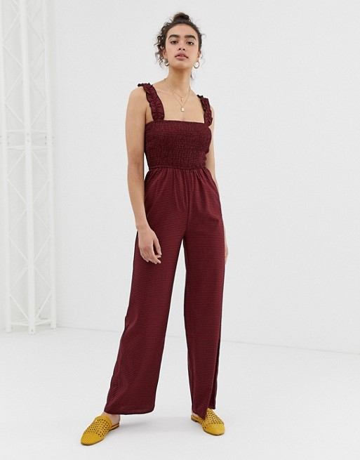 Emory Park ruched top jumpsuit in check