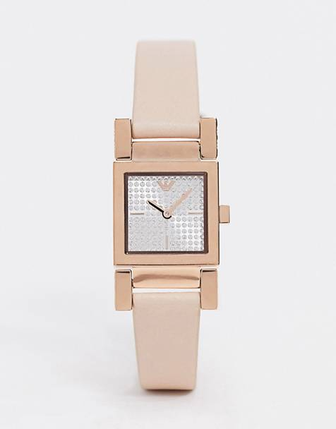 Emporio Armani AR11279 Valentina leather watch in pink