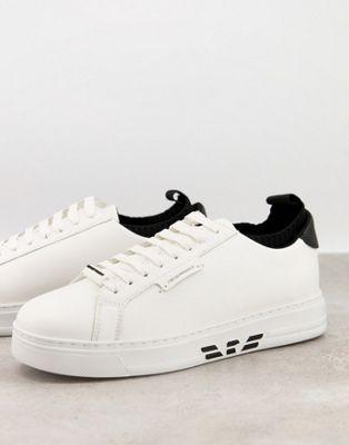Emporio Armani leather trainers with eagle sole logo in white - ASOS Price Checker