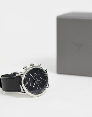 Emporio Armani Chronograph Watch In Leather AR1828
