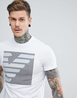 Emporio Armani Crew Neck Large Graphic Logo T-Shirt In White