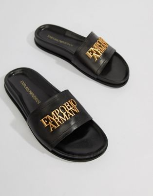 Emporio Armani Leather Slider With Gold Logo