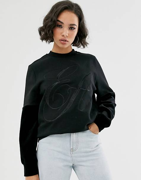 Emporio Armani logo sweatshirt with velvet sleeves