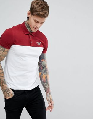 Emporio Armani Slim Fit Colour Block Logo Polo In Burgundy