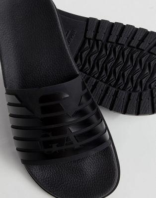 Afbeelding 1 van Emporio Armani - Slippers met logo met strepen in zwart