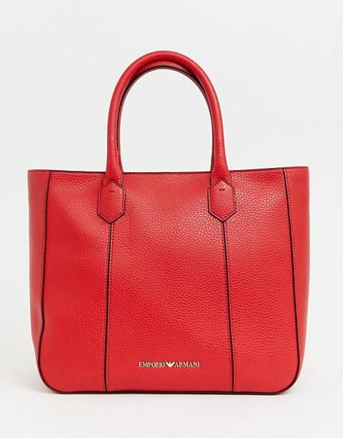 Emporio Armani – Strukturierte Shopper-Tasche aus Leder mit Reißverschluss