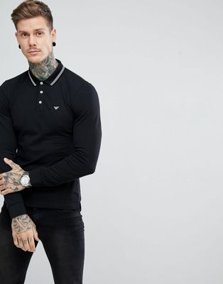 Emporio Armani Tipped Logo Long Sleeve Polo In Black