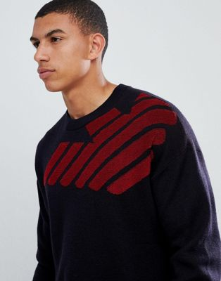 Emporio Armani toweling intarsia logo knitted crew neck jumper in navy