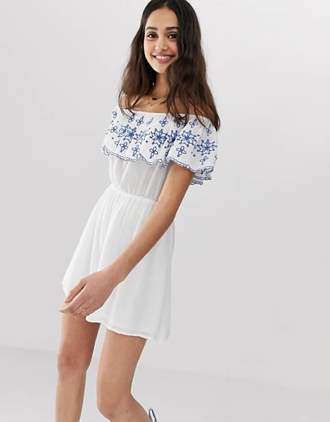 En Crème bardot mini dress with embroidered frill detail