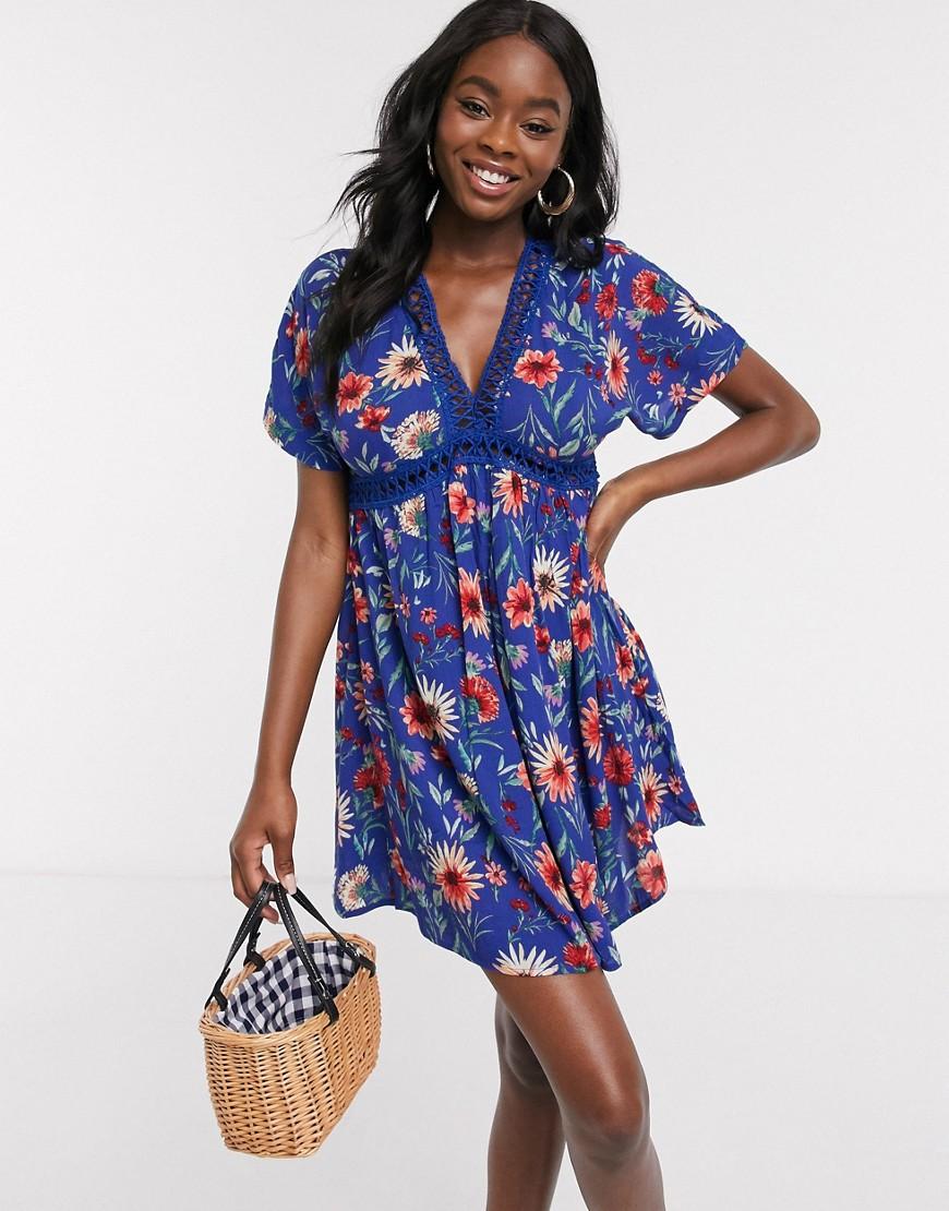 En Creme ladder detail mini dress in floral print-Blue - En Crème online sale