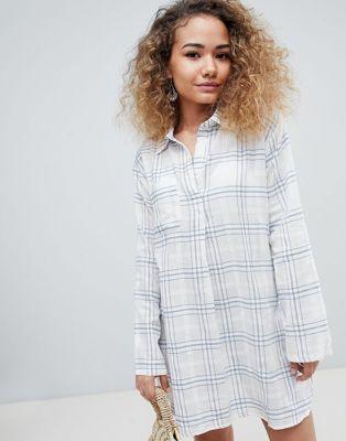 En Creme – Langärmliges Hemdkleid mit Karoprint