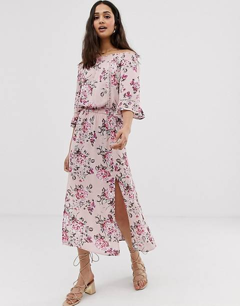 En Crème off shoulder floral midi dress
