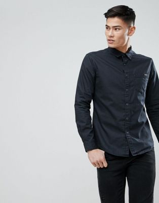 Esprit Dark Coated Black Denim Shirt