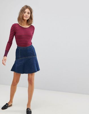 Esprit Denim Flare Hem Mini Skirt