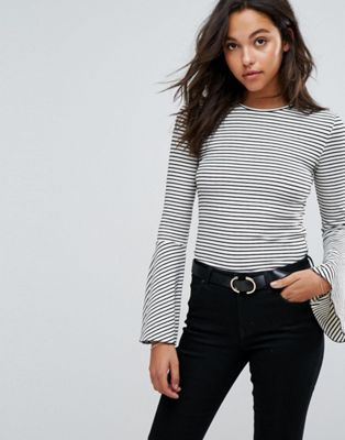 Image 1 of Esprit Flared Sleeve Stripe Top