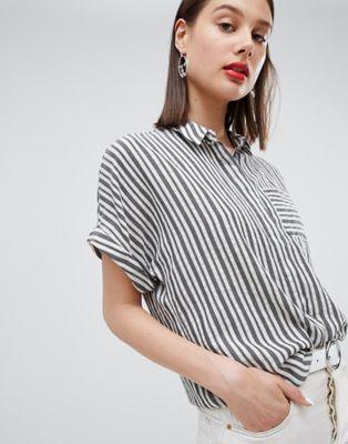 Bild 1 von Esprit – Gestreifte, übergroße Bluse mit kurzen Ärmeln