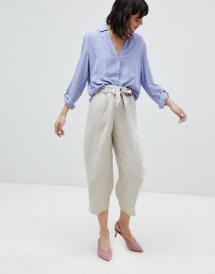 Esprit Linen Mix Cropped Wide Leg Trousers