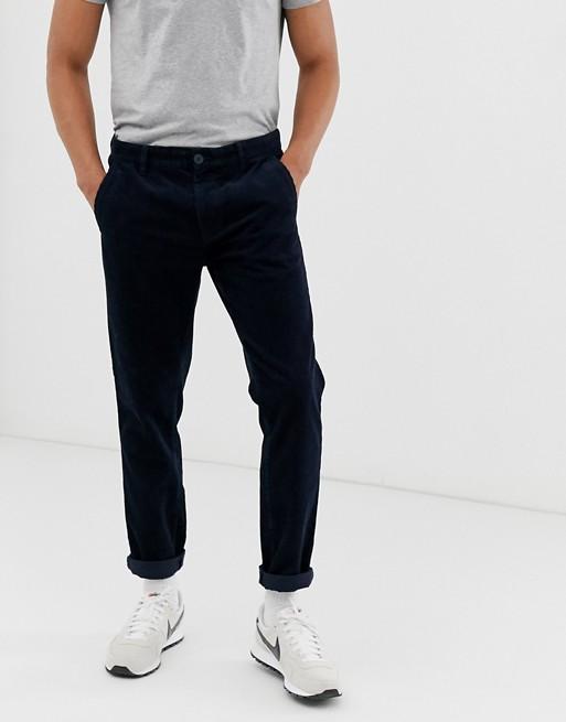 Esprit - marineblå fløjlsbukser i løs pasform