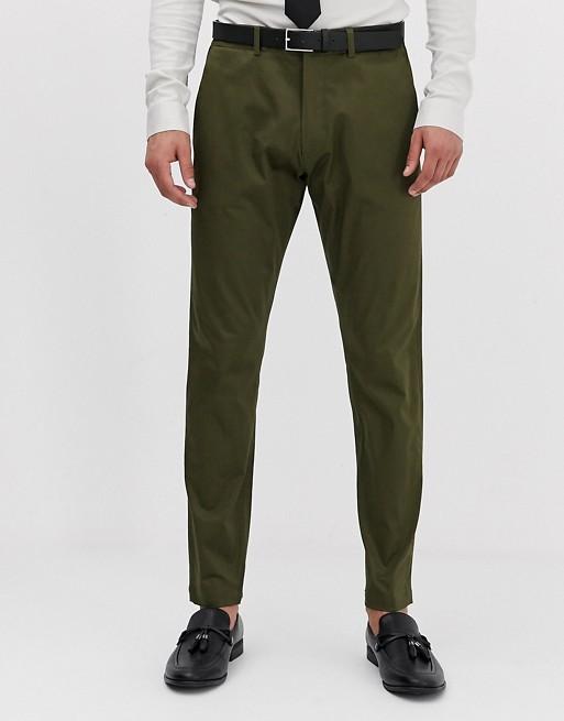 Esprit - Pantalon de costume ajusté - Kaki