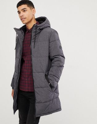 Esprit puffer coat in grey melange with hood