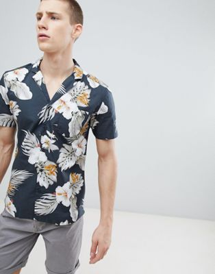 Esprit Regular Fit Shirt With Revere Collar in Hibiscus Print