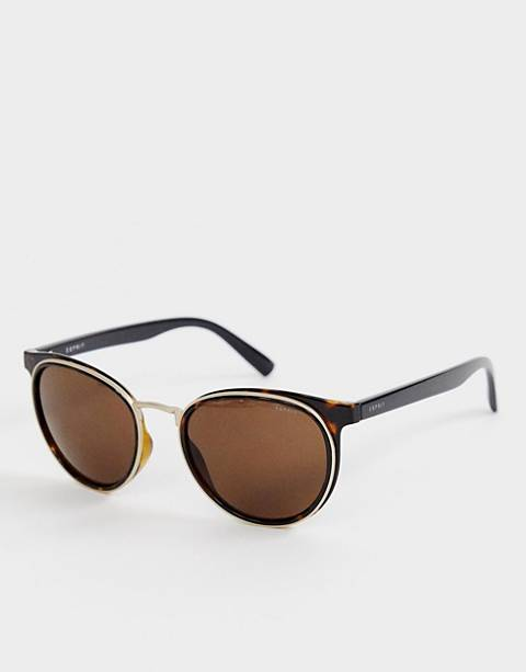 Esprit round sunglasses in tort