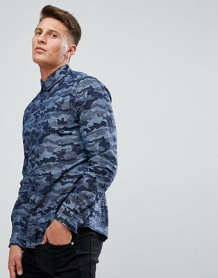 Esprit Shirt With Camo Print In Blue