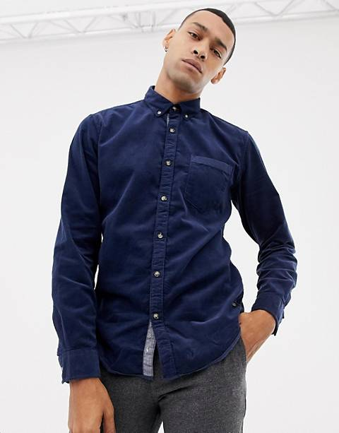 Esprit slim fit baby cord button down collar shirt in navy