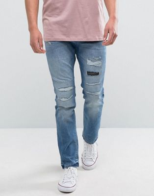 Esprit Slim Fit Distressed Jeans