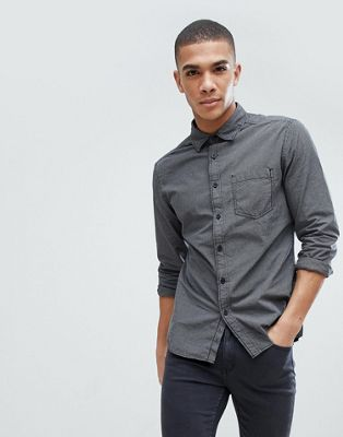 Esprit Slim Fit Mini Check Shirt In Charcoal