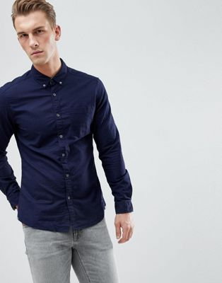 Esprit Slim Fit Oxford Shirt With Button Down Collar In Navy