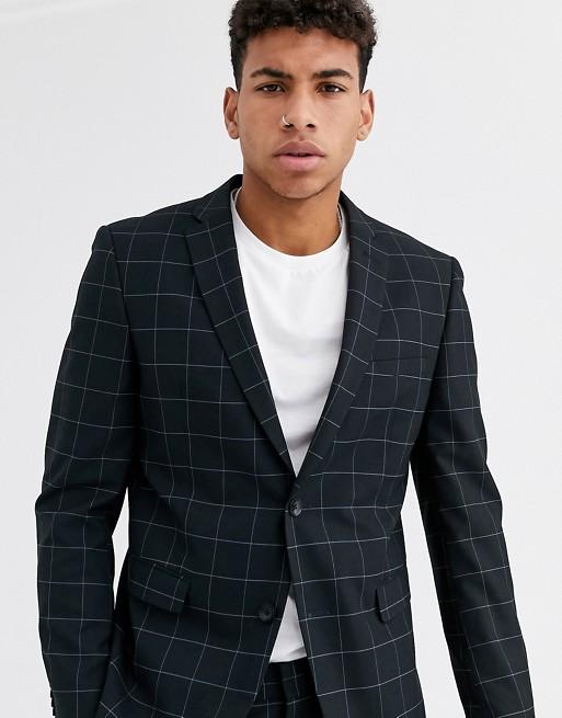 Esprit slim fit suit jacket in navy windowpane check