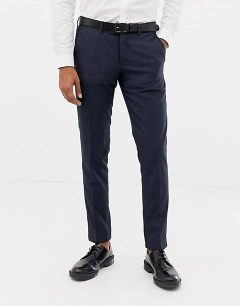 Esprit slim fit suit pants in blue twisted yarn